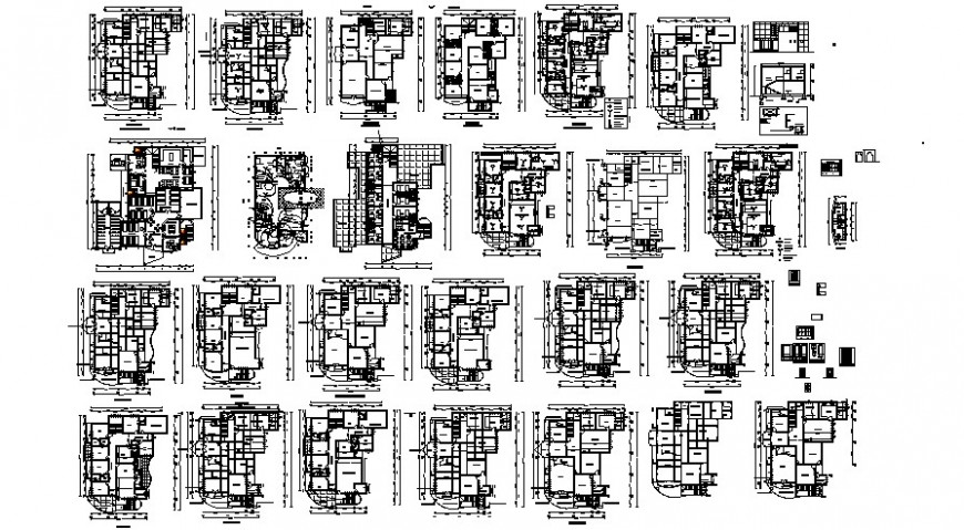 Multiple houses distribution plan drawing details for apartment building dwg file