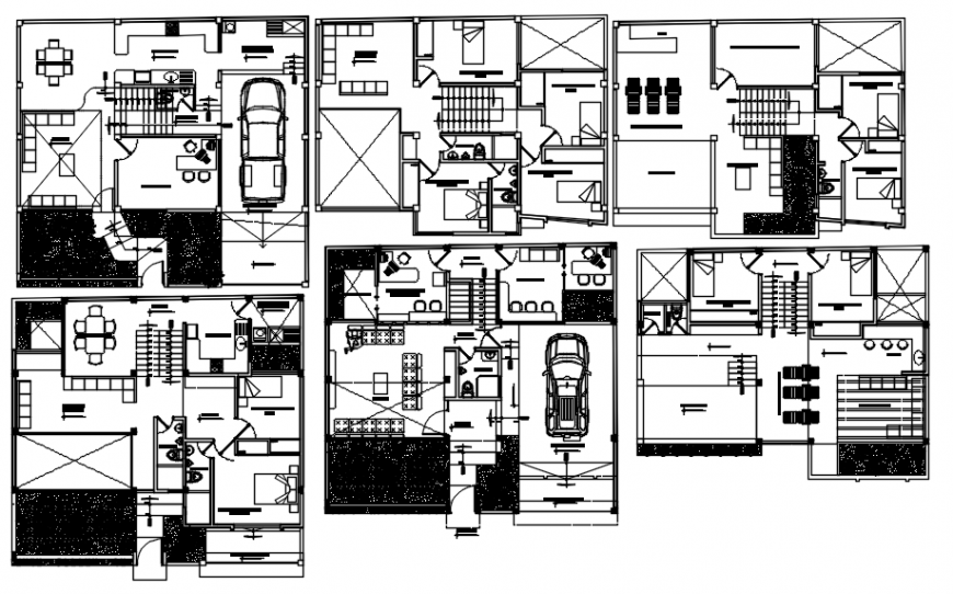 Multiple houses for apartment building distribution plan cad drawing details dwg file