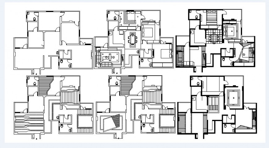 Multiple houses layout plan and interior cad drawing details dwg file