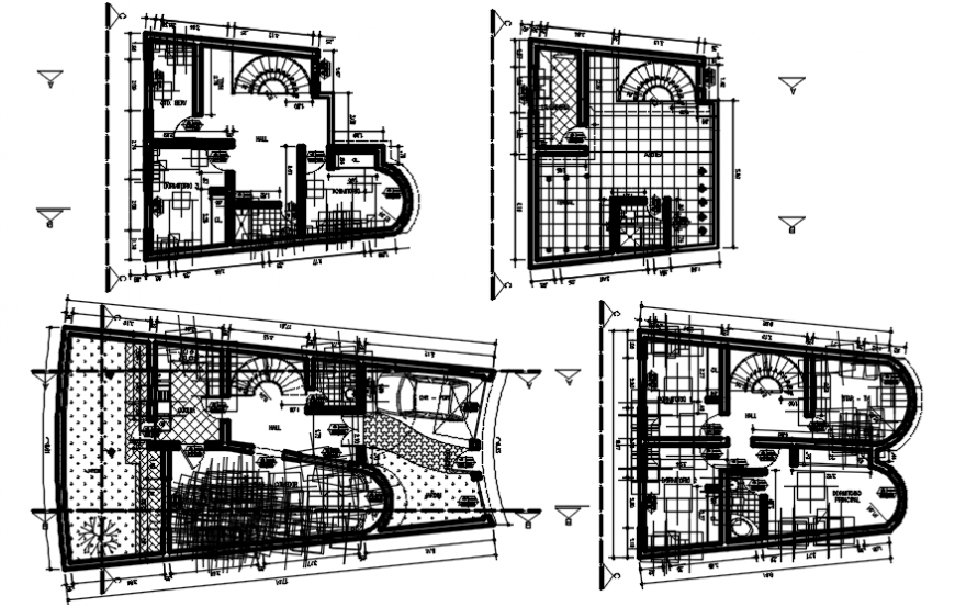 Multiple houses layout plan and structure cad drawing details dwg file