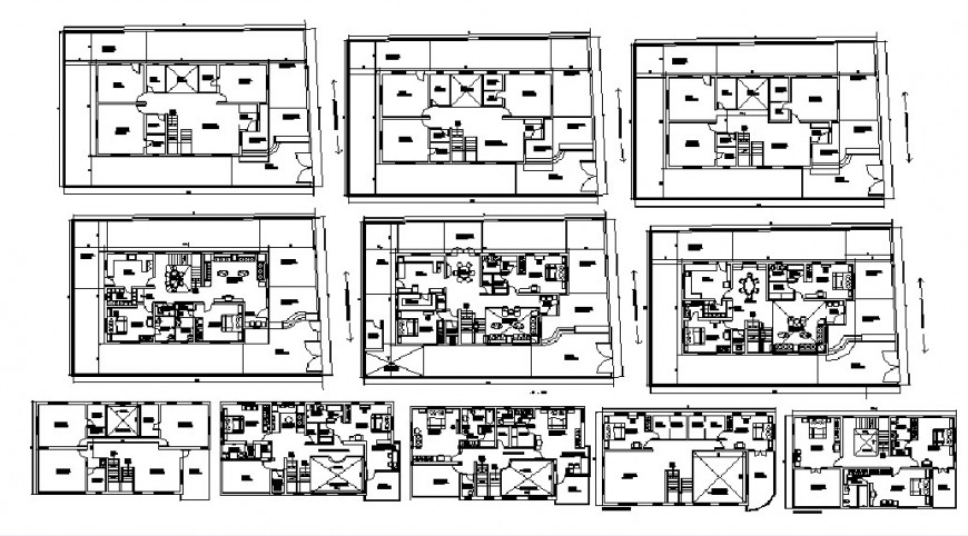 Multiple houses layout plan drawing details of apartment building dwg file