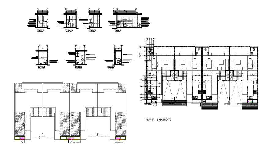 Multiple housing blocks with sanitary installation cad drawing details dwg file