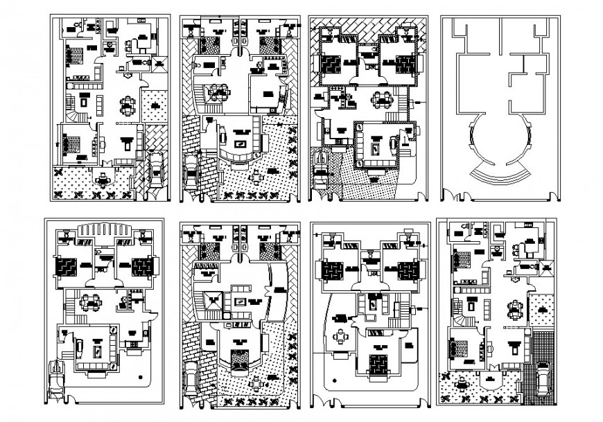 Multiple housing floors distribution plan details for multiple family cad drawing details dwg file