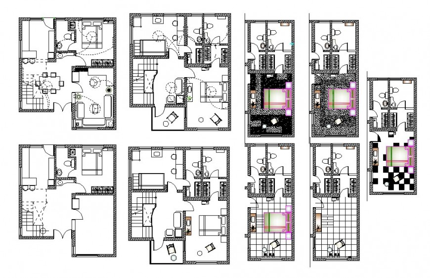 Multiple housing floors layout plan with furniture layout cad drawing details dwg file