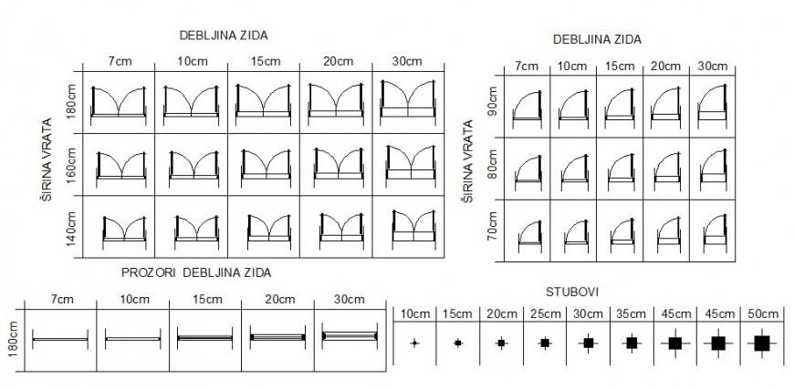 Multiple indoor doors blocks cad drawing details dwg file