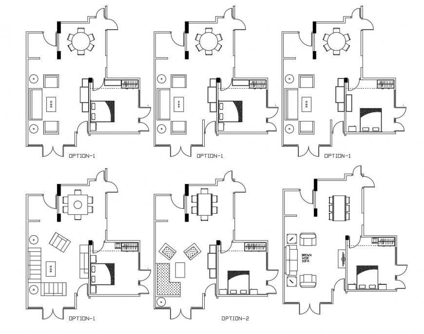 Multiple layout plan details of single family house dwg file