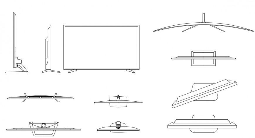 Multiple led tv elevation blocks cad drawing details dwg file