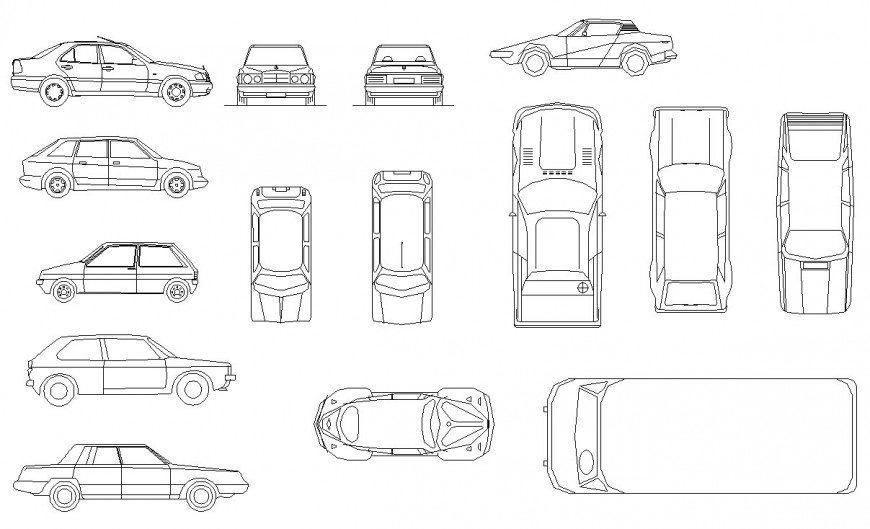 Multiple luxuries and common car elevation blocks cad drawing details dwg file