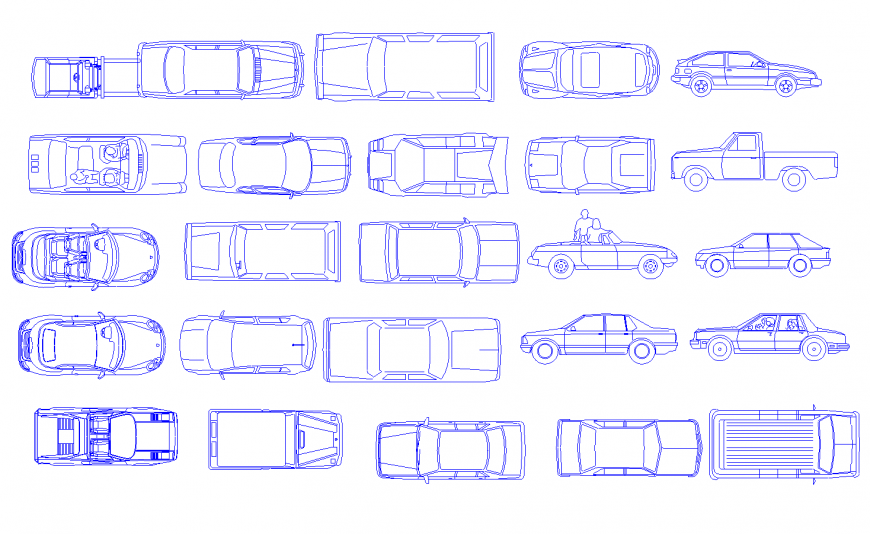 Multiple luxuries and family car 2d blocks cad drawing details dwg file