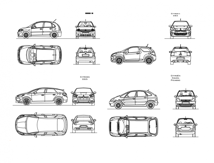 Multiple luxuries family cars cad blocks details dwg file