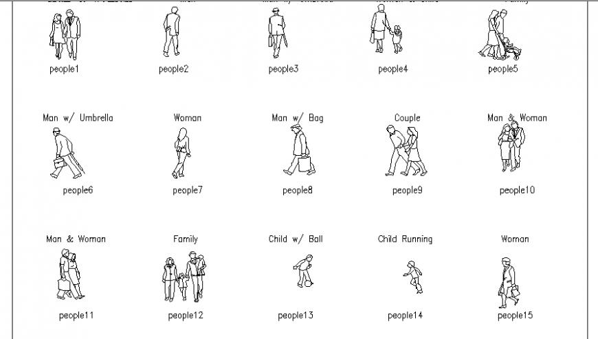 Multiple men, women, children etc people act blocks cad drawing details dwg file