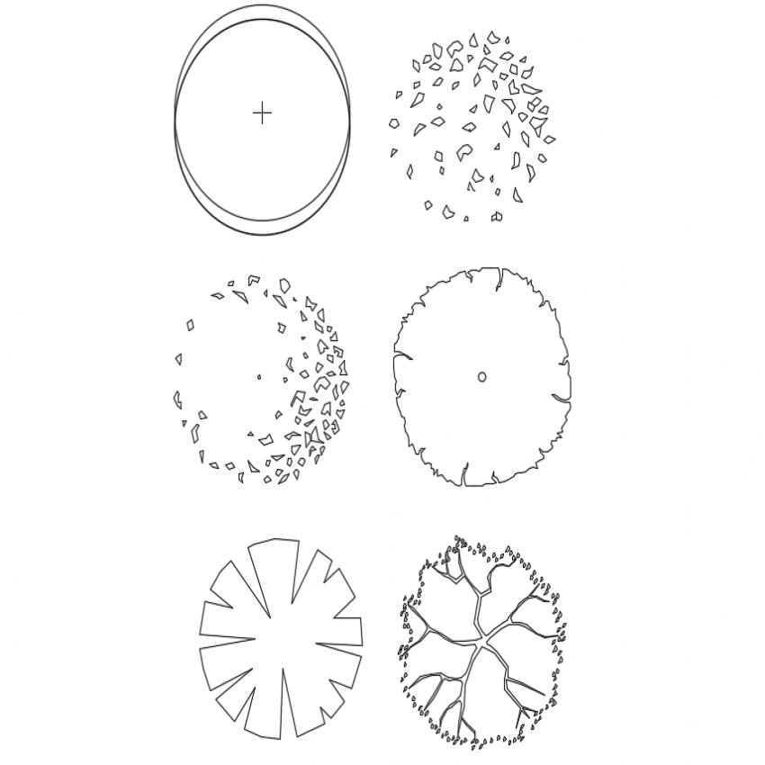 Multiple mini plants cad blocks design dwg file