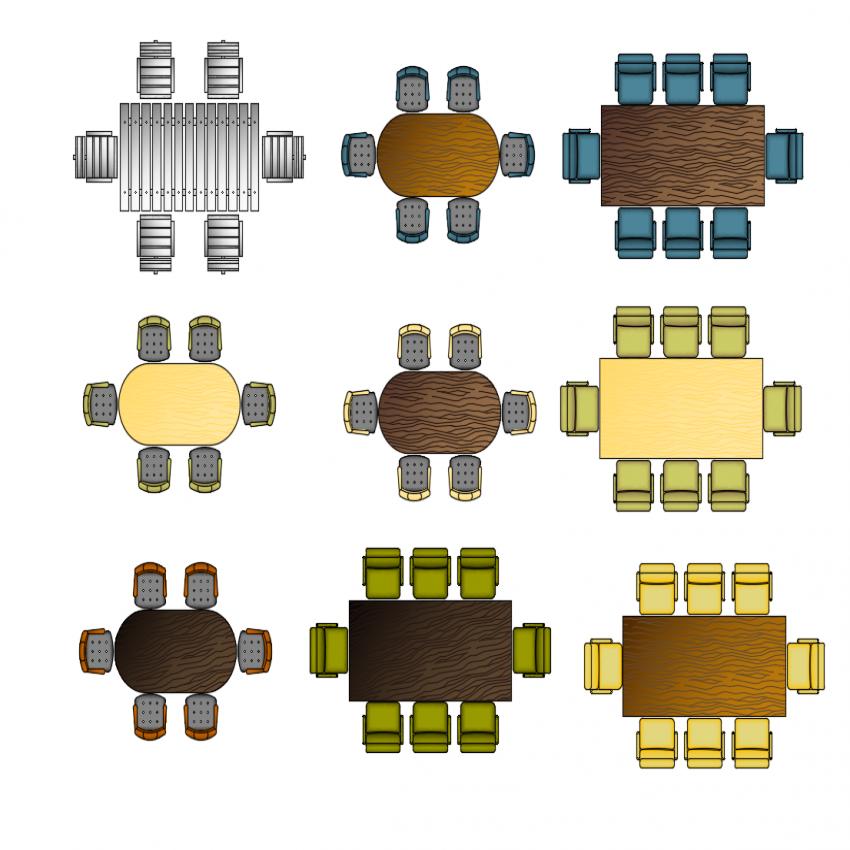 Multiple modern wooden dining tables cad blocks design dwg file