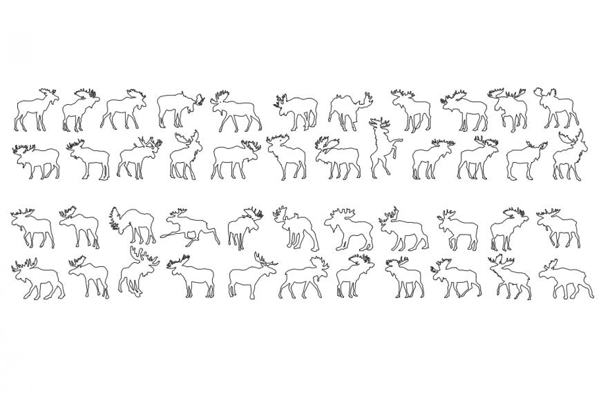 Multiple moose animal elevations cad blocks details dwg file
