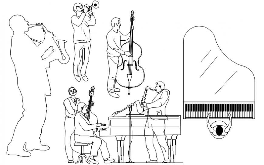 Multiple music people and equipment elevation blocks cad drawing details dwg file