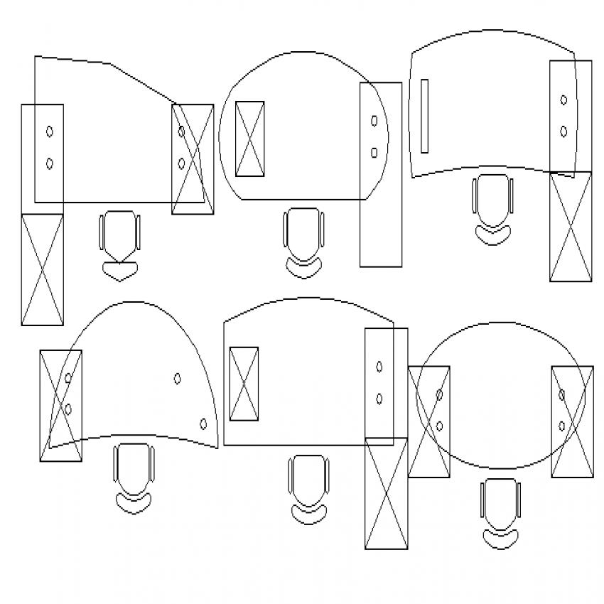 Multiple office desks top view cad blocks design dwg file