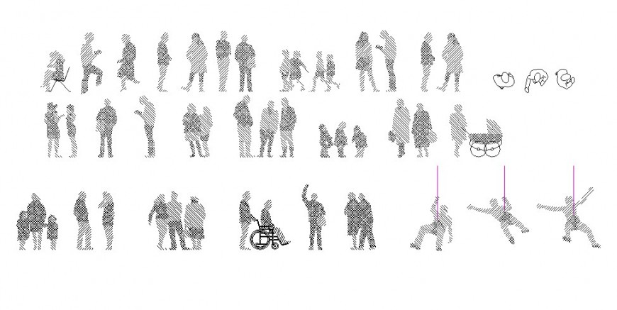 Multiple people act figures cad block drawing details dwg file