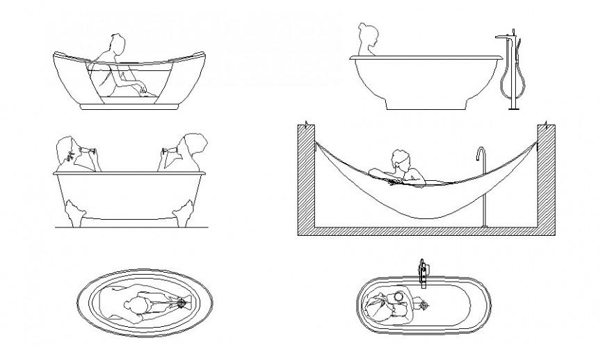 Multiple people blocks in bathroom cad drawing details dwg file