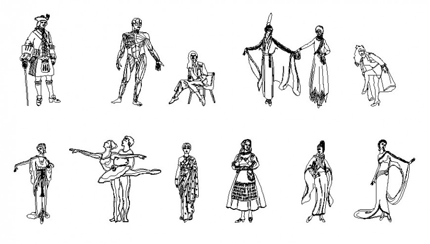 Multiple people blocks in national traditional dresses cad drawing details dwg file