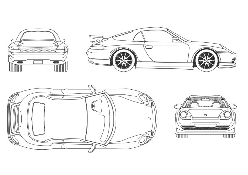 Multiple Porsche boxster car blocks cad drawing details dwg file