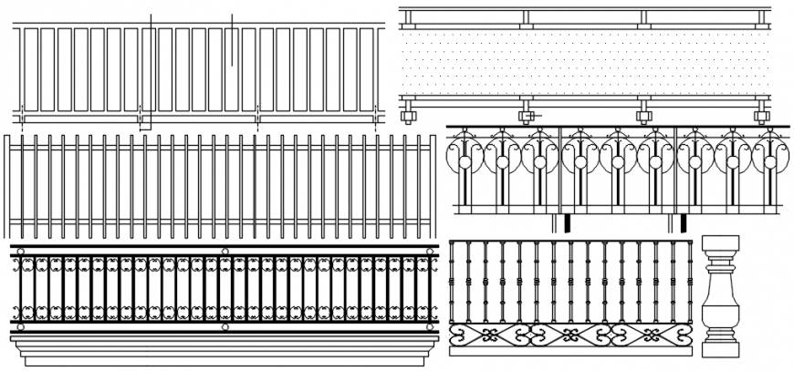 Multiple prefabricated balcony railing blocks drawing details dwg file