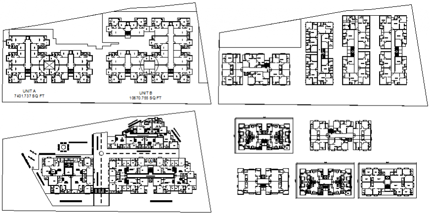 Multiple residential apartment floors layout plan details dwg file