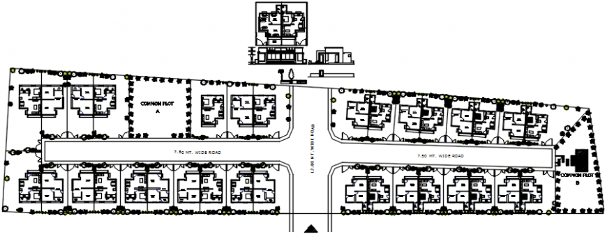 Multiple residential colony houses layout plan cad drawing details dwg file