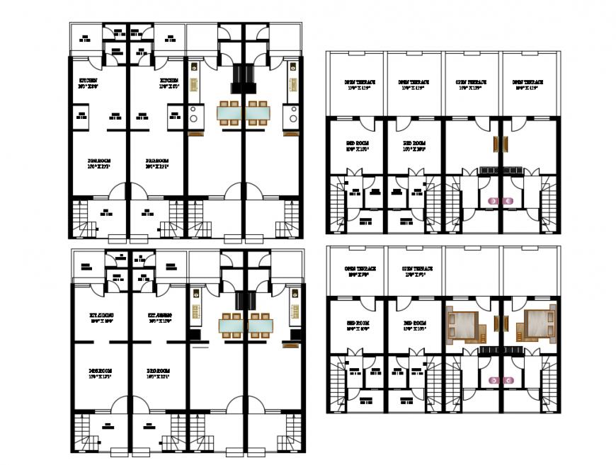 Multiple residential house building floor plan layout details dwg file