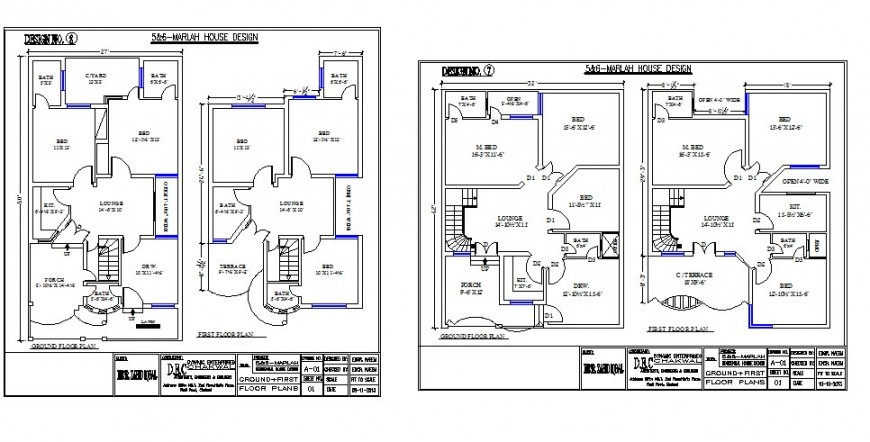 Multiple residential house floor plan options cad drawing details dwg file