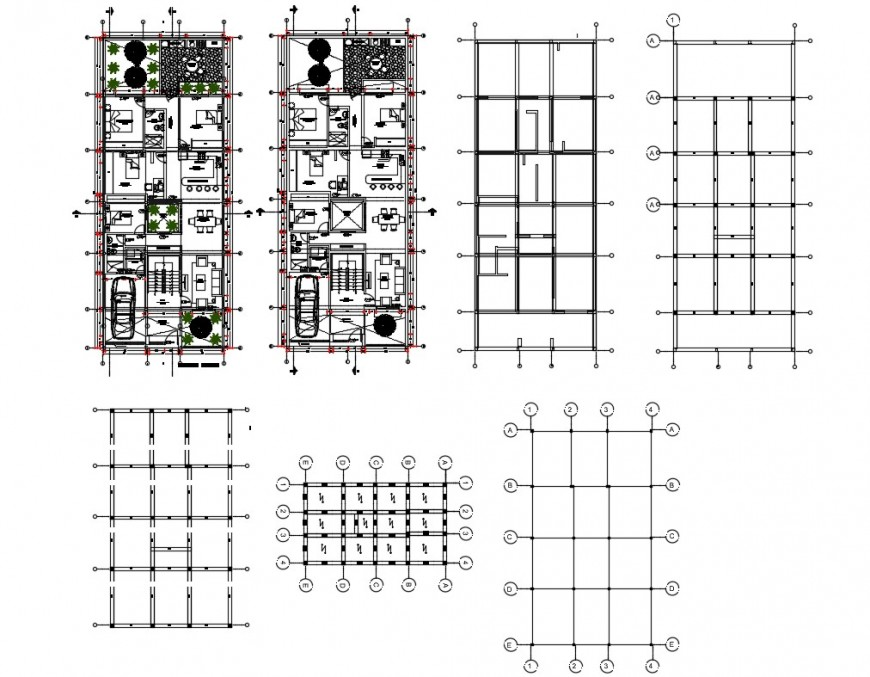 Multiple residential house floors plan and auto-cad details dwg file