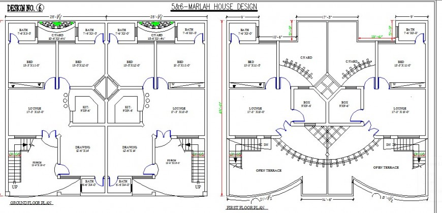 Multiple residential houses ground and first floor plan cad drawing details dwg file