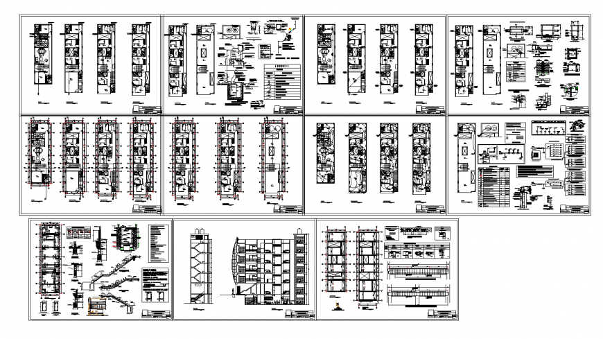Multiple residential housing building detailed architecture project dwg file
