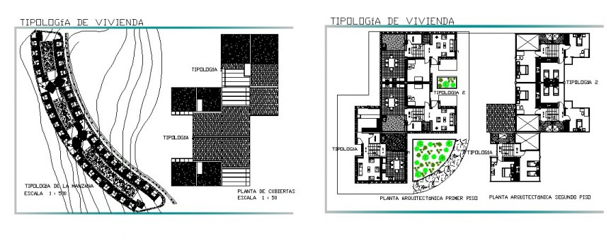 Multiple residential housing building floor distribution plan auto-cad drawing details dwg file