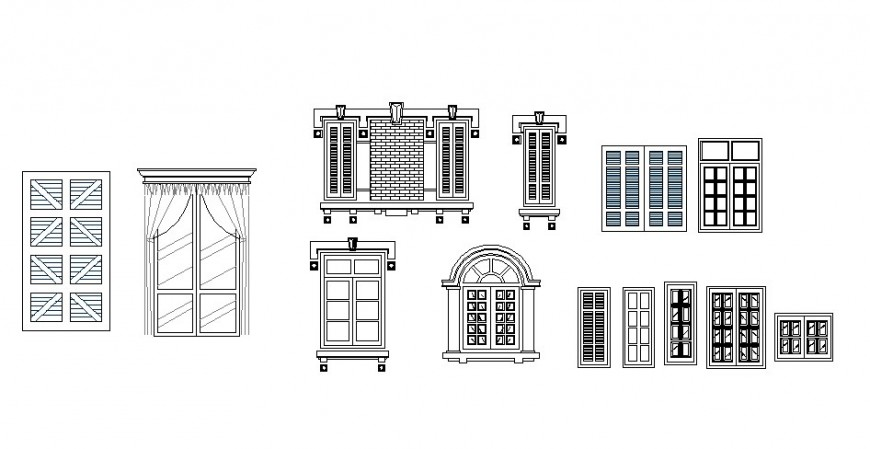 Multiple single, double and classic door blocks cad drawing details dwg file
