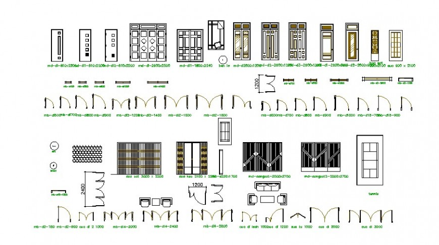 Multiple single, double and sliding door blocks cad drawing details dwg file