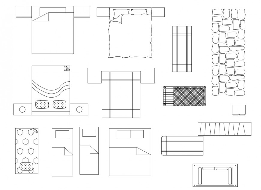 Multiple single, double beds and furniture cad drawing details dwg file