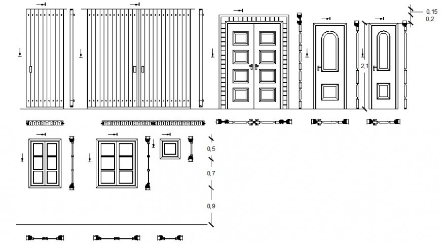 Multiple single and double door and gate elevation blocks drawing details dwg file