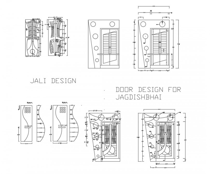 Multiple single and double door blocks design cad drawing details dwg file
