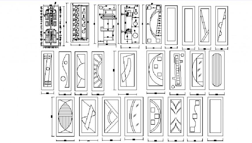 Multiple single wooden door elevation blocks cad drawing details dwg file