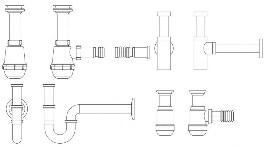 Multiple siphon pipe elevation blocks drawing details dwg file