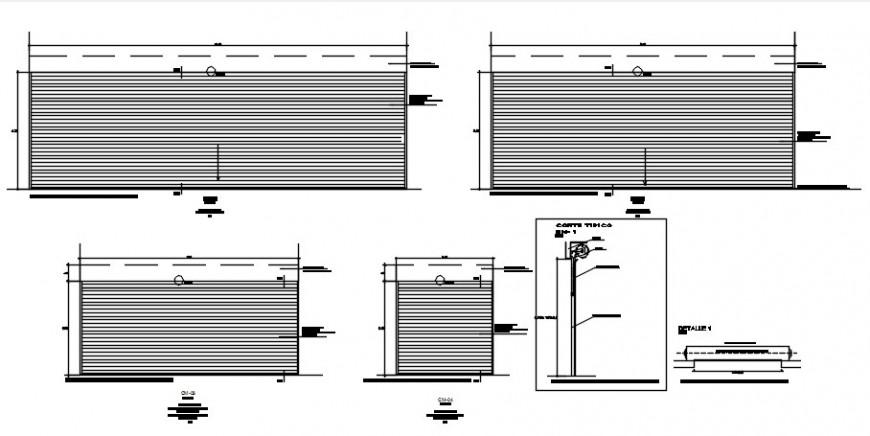 Multiple sliding doors elevation and installation drawing details dwg file
