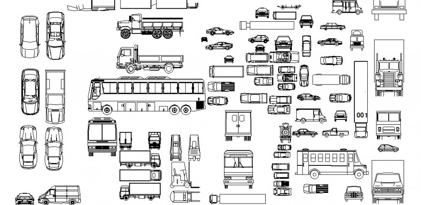 Multiple small and big vehicle elevation blocks drawing details dwg file