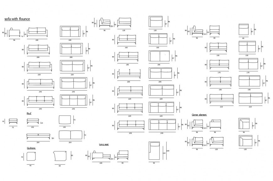 Multiple sofa-sets elevation blocks with flounce cad drawing details dwg file
