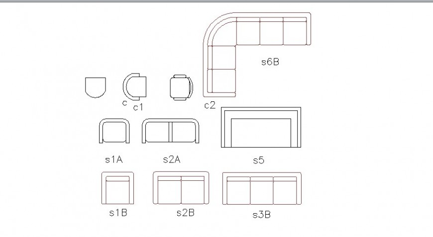 Multiple sofa sets and chairs elevation blocks cad drawing details dwg file