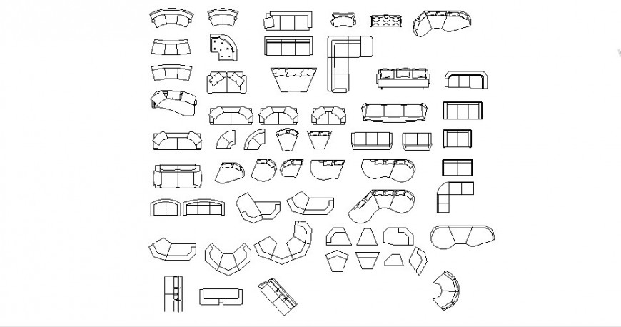 Multiple sofa sets and lounge blocks cad drawing details dwg file