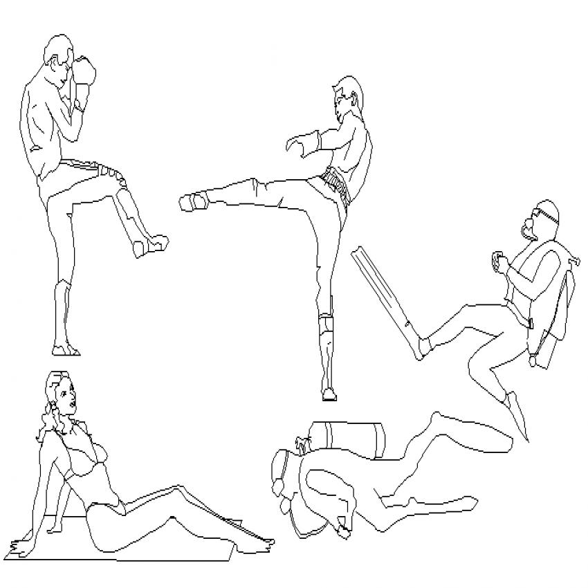 Multiple sports people act cad blocks design dwg file