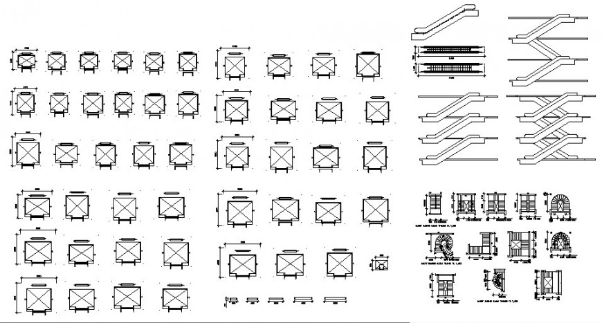 Multiple staircase, column and interior blocks cad drawing details dwg file