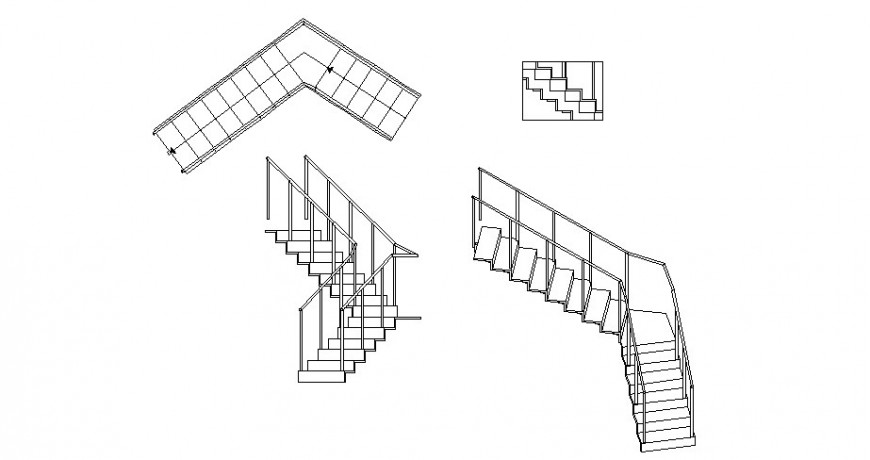 Multiple staircase 2d blocks details for store dwg file