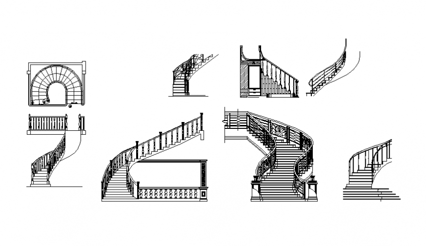 Multiple stairs and spiral stairs blocks cad drawing details dwg file