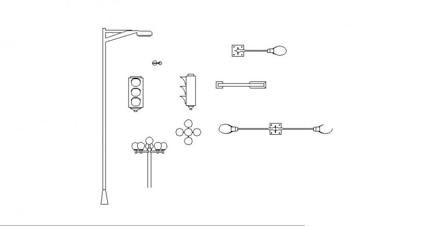 Multiple street lights and light-pole elevation blocks cad drawing details dwg file